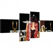 Frau Retro Wandbild 4-Teilig: 130x60 cm | Mehrfarbig