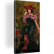 Frau Retro Wandbild auf Leinwand