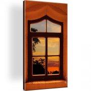 Fenster Landschaft Wandbild auf Leinwand