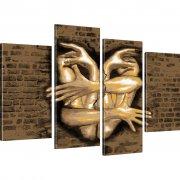 Hände Wand Bild auf Leinwand 4-Teilig: 100x60 cm   Sepia