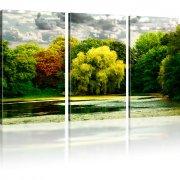 Park Herbst See Landschaft Wandbild auf Leinwand 3-Teilig: 135x80 cm   Mehrfarbig