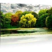 Park Herbst See Landschaft Wandbild auf Leinwand
