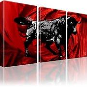 Stier Corrida Stierkampf Bild auf Leinwand 3-Teilig: 105x60 cm