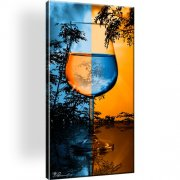 Glass Wein Abstrakt Horizont Leinwandbild