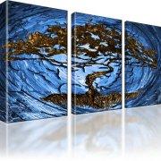 Bonsai Baum Abstrakt Wandbild auf Leinwand 3-Teilig: 165x100 cm