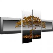 Bonsai Baum Abstrakt Wandbild 4-Teilig: 130x60 cm