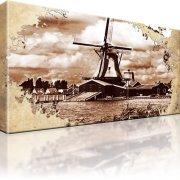 Windmühle Retro Wandbild auf Leinwand