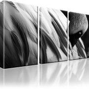 Flamingo Kunstdruck 3-Teilig: 105x60 cm | Schwarz-weiss
