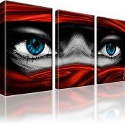 Tuareg Augen Bild auf Leinwand 3-Teilig: 105x60 cm