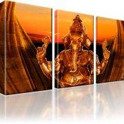 Ganesha Indien Leinwandbild 3-Teilig: 165x100 cm