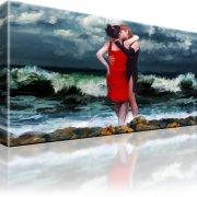 Lesben Abstrakt Sturm Kuss Erotik Bild auf Leinwand