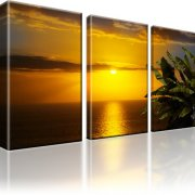 Horizont Sonnenuntergang Atlantik Leinwandbild 3-Teilig: 105x60 cm