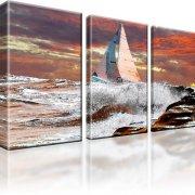 Ozean Atlantik Segler Bot Sturm Wandbild 3-Teilig: 105x60 cm