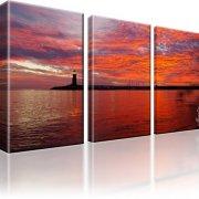 Atlantik Puerto Rico Leuchtturm Kunstdruck 3-Teilig: 105x60 cm
