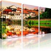 Dorf Häuser Fluss Wandbild 3-Teilig: 135x80 cm