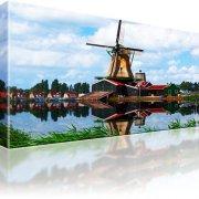 Windmühle Dorf See Wandbild auf Leinwand