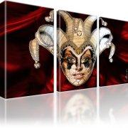 Joker Maske Abstrakt Bild auf Leinwand 3-Teilig: 165x100 cm