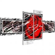 Abstraktion Rose Leinwandbild 4-Teilig: 130x60 cm