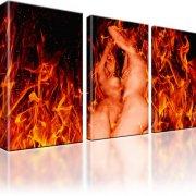 Erotik Feuer Frau Mann Kunstdruck 3-Teilig: 105x60 cm