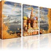 Basilius-Kathedrale Moskau Wandbild auf Leinwand 3-Teilig: 165x100 cm