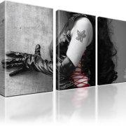 Erotik Frau Latex Tattoo Leinwandbild 3-Teilig: 105x60 cm