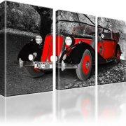 Auto Oldtimer Fahrzeug Leinwandbild 3-Teilig: 165x100 cm | Schwarz-Weiss
