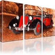 Auto Oldtimer Fahrzeug Leinwandbild 3-Teilig: 165x100 cm | Rot