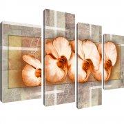 Orchideen Blumen Kunst Leinwandbild 4-Teilig: 100x60 cm