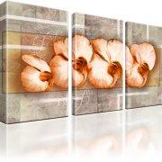 Orchideen Blumen Kunst Leinwandbild 3-Teilig: 105x60 cm
