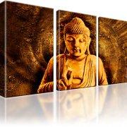 Buddha Tibet Wandbild 3-Teilig: 105x60 cm | Orange