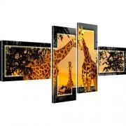 Giraffen Afrika Tiere Leinwandbild 4-Teilig: 170x80 cm | Gelb