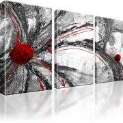 Abstraktion Wandbild 3-Teilig: 165x100 cm | Rot