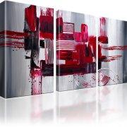 Abstraktion Stadt Wandbild auf Leinwand 3-Teilig: 135x80 cm | Rot