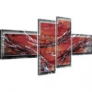 Abstraktion Streifen Kunstdruck 4-Teilig: 130x60 cm | Rot