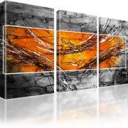 Abstraktion Streifen Kunstdruck 3-Teilig: 165x100 cm | Orange