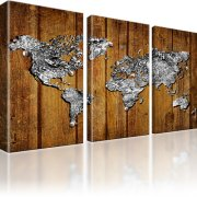 Weltkarte Wandbild 3-Teilig: 165x100 cm | Braun