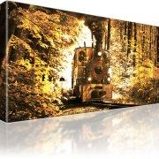 Dampflokomotive Zug Wandbild auf Leinwand 1-Teilig: 80x45 cm | Sepia