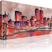 Golden Bridge New York Manhattan Wandbild 1-Teilig: 100x55 cm | Bordeaux