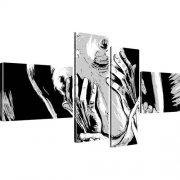 Erotik Akt Popart Kunstdruck 4-Teilig: 170x80 cm | Schwarz-Weiss
