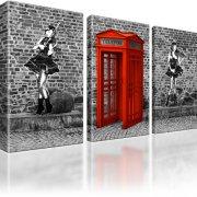 Graffiti Wall Art Wand Kunst Telefonzelle Wandbild auf Leinwand 3-Teilig: 105x60 cm | Rot