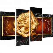 Goldene Rose Wandbilder auf Leinwand 4-Teilig: 100x60 cm | Orange