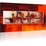 Abstraktion Chaos Kunstdruck 1-Teilig: 100x55 cm | Orange