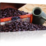 Kaffeebohnen mit Mokkakanne Wandbild