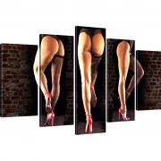 Sexy Hinter Strümpfe Erotik Beine Wandbild 5-Teilig: 125x75 cm | Mehrfarbig