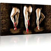 Sexy Hinter Strümpfe Erotik Beine Wandbild 1-Teilig: 80x45 cm | Sepia