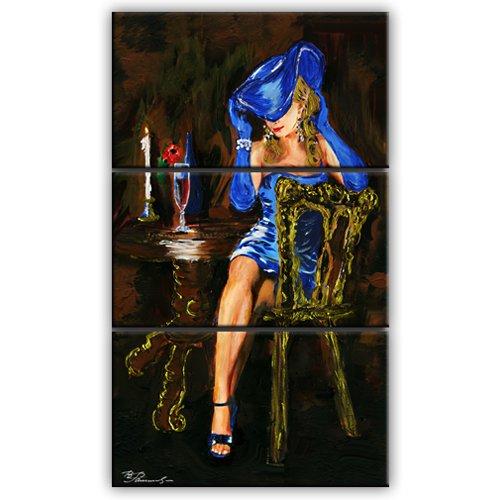 Frau Retro Kunstdruck 3-Teilig: 105x60 cm