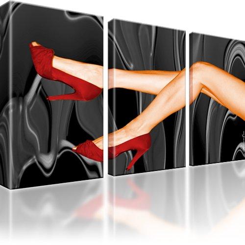 Sexy Beine Rote Schuhe Wandbild 3-Teilig: 105x60 cm