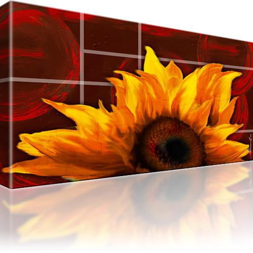 Sonnenblume Blume Wandbild auf Leinwand 1-Teilig: 100x55 cm