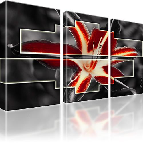 Lilie Blume Abstrakt Bild auf Leinwand 3-Teilig: 135x80 cm | Rot