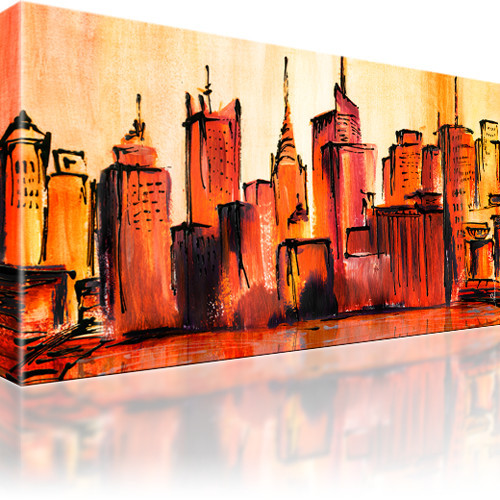 manhattan skyline new york stadt bild auf leinwand. Black Bedroom Furniture Sets. Home Design Ideas